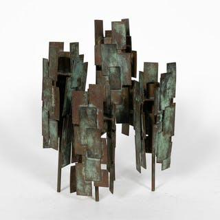 Brutalist Four Light Patinated Copper Candelabra