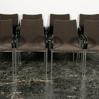 Set of Eight Lowenstein Modern Striped Chairs