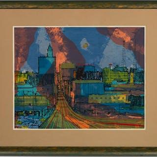 """Wendell Mohr, """"Skyline"""" Cityscape Serigraph"""