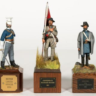 Three Hand Painted Confederate Soldier Miniatures