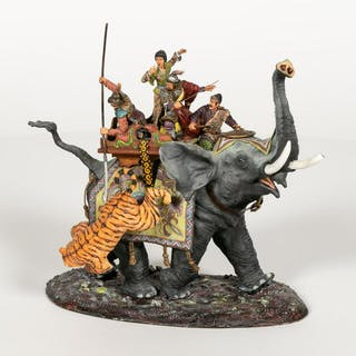 Russian, Hand Painted Indian Elephant Warrior