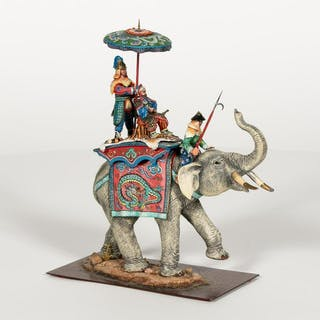 """""""Mongolian Tiger Hunt"""" Hand Painted Russian Figure"""