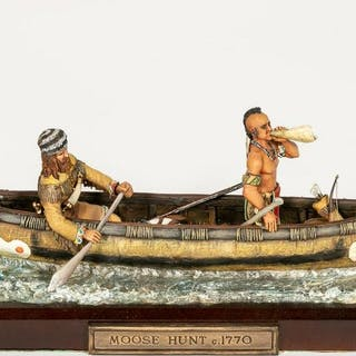 """Moose Hunt"" Hand Painted Miniature Scale Model"