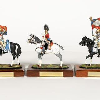 Three, Signed Decorated Miniature Calvary Riders