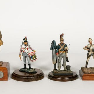 Four, Hand Painted Miniature Soldier Models