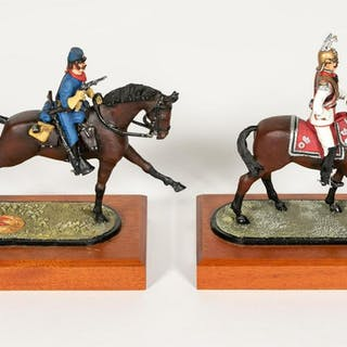Two, Signed Hand Painted Horse Mounted Calvary