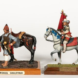 Two, Hand Painted Signed Horse Calvary Miniatures