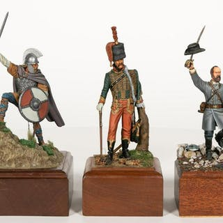 Three, Painted Soldier Scale Model Figurines