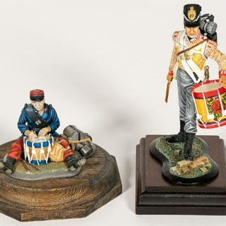 Two, Painted Soldier Figurines On Mounted Bases