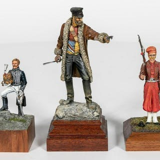 Three, Hand Painted Figural Model Soldiers