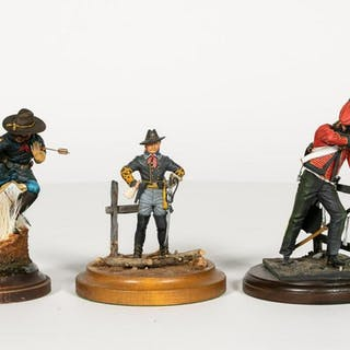 Three Hand Painted Soldier Model Figurines