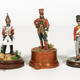 Three Hand Painted Figural Toy Soldier Models