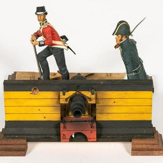 Hand Painted Figural Cannon Scene Toy Soldier
