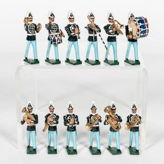 12 Pc, British 19th Century Band Lead Toy Soldiers