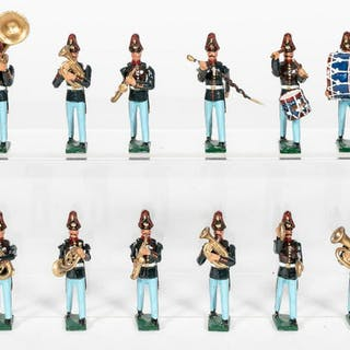 12 Pc, American 19th Century Toy Soldier Band