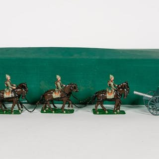 German WWI Six Horse Carriage Cannon Toy Soldiers