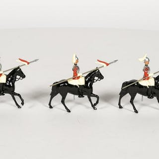 Early 3 Pc, Britains Horse Mounted Lancers