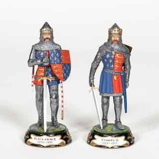 "Stadden, Two Hand Painted ""Knight"" Figures"