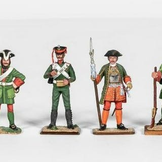 8 Pc, Russian Hand Painted Toy Soldiers