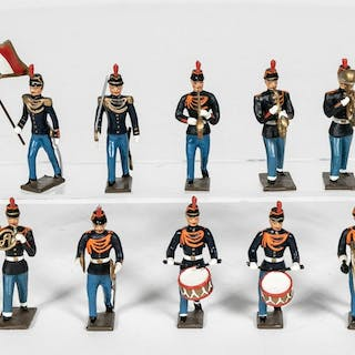 10 Pc, Mignot Late 19th Century French Band