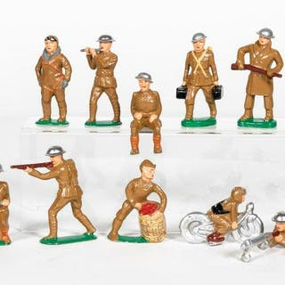 12 Pc, Artist Signed Barclay Repaint Toy Soldiers
