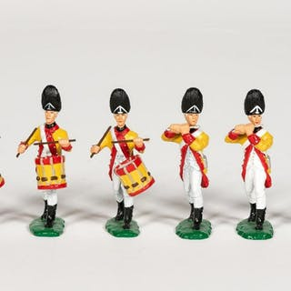 "6 Pc, Artist Signed ""18th C. British"" Toy Soldiers"