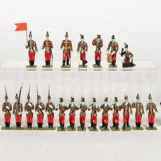 24 Pc, French 19th Century Infantry Toy Soldiers