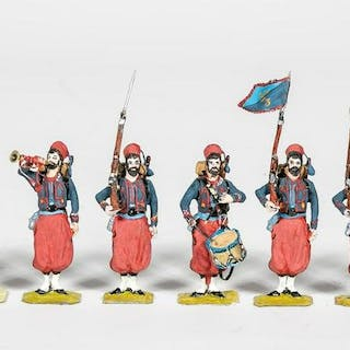 9 Pc, 19th Century French Zouaves Toy Soldiers