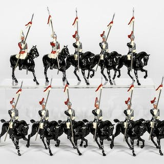 "11 Pc, Britains ""19th Century Lancer"" Toy Soldiers"