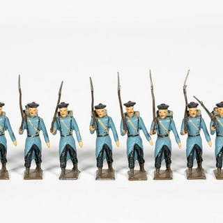 "10 Pc, Mignot ""French Infantry"" Toy Soldiers"