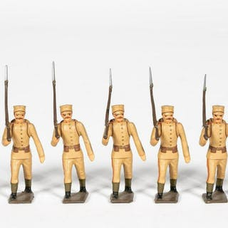 """7 Pc, Mignot """"Greek Infantry"""" Toy Soldiers"""