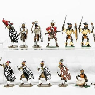 "23 Pc, Mixed Group of ""Zulu Warrior"" Toy Soldiers"