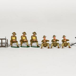"10 Pc, Britains ""American WWI Mortar"" Toy Soldiers"