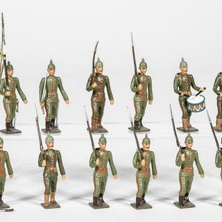 "12 Pc, Mignot ""German Infantry"" Toy Soldiers"