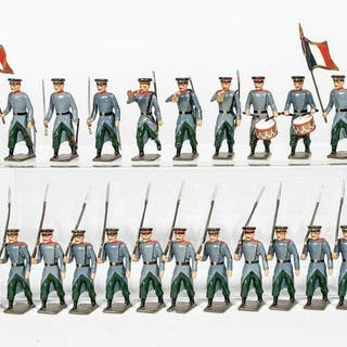 """24 Pc, Mignot """"French Marching Army"""" Toy Soldiers"""