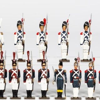 "18 Pc, Mignot ""French Standing Guard"" Toy Soldiers"