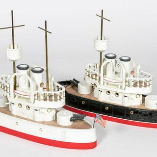 Two, Hand Painted American & German Battle Ships