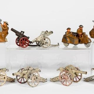 12 Pc, Pre-War Dimestore Toy Soldier Vehicles