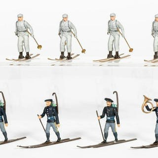 """8 Pc, Britains & Mignot """"Ski Troopers"""" Toy Soldier"""