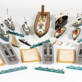 Large Miscellaneous Group Of Toy Soldier Boats
