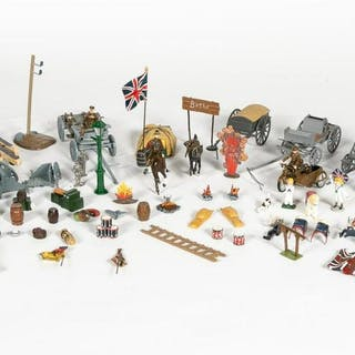 90 Pc, Toy Soldiers and Accessories Grouping