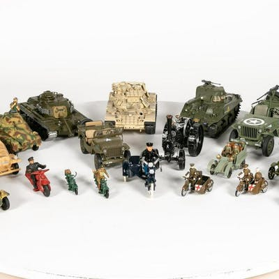 Large Grouping of Toy Soldier Vehicles & More