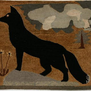 L. 19th Century American Folk Art Hooked Dog Rug