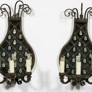 Pair, Bronze Pineapple Motif Mirror Back Sconces