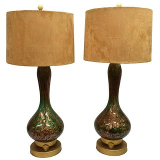 (2) ITALIAN MID-CENTURY MURANO ART GLASS LAMPS