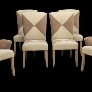 6) CONTEMPORARY TWO-TONE ULTRA SUEDE DINING CHAIRS