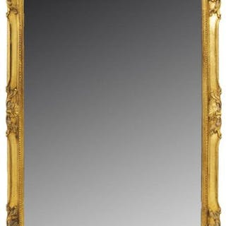 "LARGE FRENCH GILT FRAMED WALL MIRROR, 71"" X 31.5"""