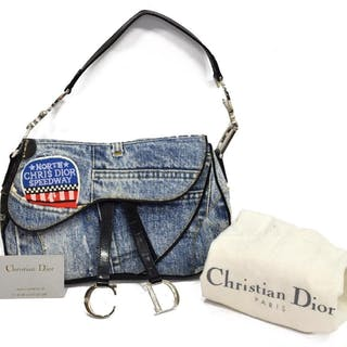 CHRISTIAN DIOR 'MISS DIORELLA' DENIM SADDLE BAG