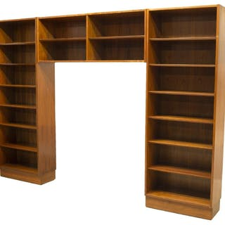 LARGE DANISH MODERN TEAK THREE PIECE BOOKCASE