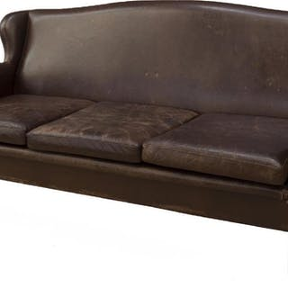 DANISH THREE-SEAT BROWN LEATHER SOFA